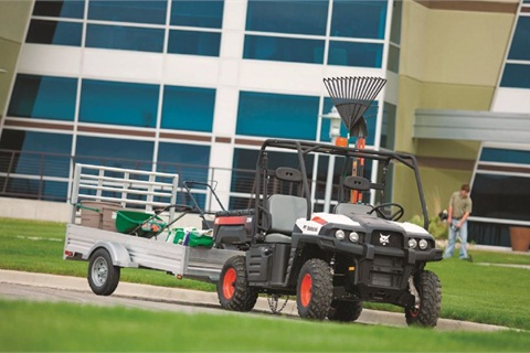 The Bobcat 3400 4x4 utility vehicle (UTV) is available in both gas and diesel options. A Bobcat representative said fleet managers should choose the fuel type that matches their fleet.