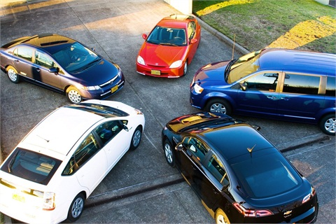 "Pictured are ""best value"" vehicles purchase by Oregon state agencies: Honda Civic Hybird, Honda Civic CNG, Toyota Prius, Chevrolet Volt, and a Dodge Grand Caravan flex-fuel vehicle. Photo courtesy State of Oregon."