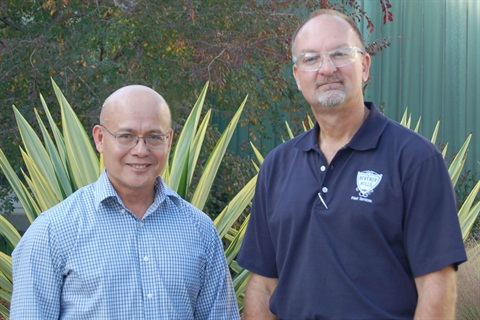 Pictured are Rene Biadoma, fleet manager, and Craig Crowder, fleet operations supervisor for the City of Beverly Hills.