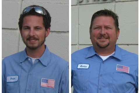 Pictured are Fleet Services technicians (l-r) Brian Orlowski and Kurtis Denny.