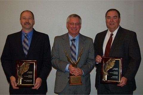 Larry Campbell (center) with Public Sector Fleet Manager of the Year finalists Kevin Schlangen, CPFP, Dakota County, Minn., and Dave Head, Sonoma County, Calif.