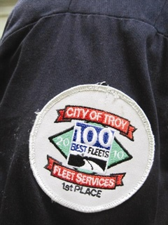 City of Troy, Mich., technicians wear uniforms with patches identifying them as the No. 1 fleet in the 2010 100 Best Fleets program.