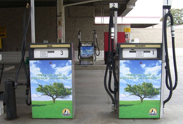 Rick Longobart, facilities, fleet, and central stores manager for the City of Santa Ana, Calif., said one of the key questions to ask when purchasing a fuel system is about customer support. Pictured is the City of Santa Ana's fuel island, with environmental wraps on dispensers.