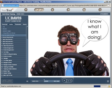The driver safety training program combines humor and educational information.