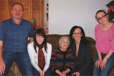 Pictured (l-r) are Kevin Schlangen and daughter Mandy, mother-in-law Louis, wife Jackie, and daughter Brianna.