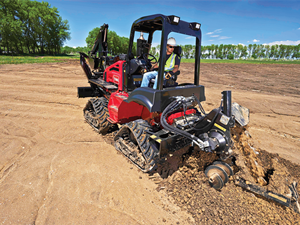 <p>The Toro RT1200 riding trencher, shown here without the cab, is geared for mid- to long-range trenching applications in utility work. <em>Photo courtesy of Toro</em></p>