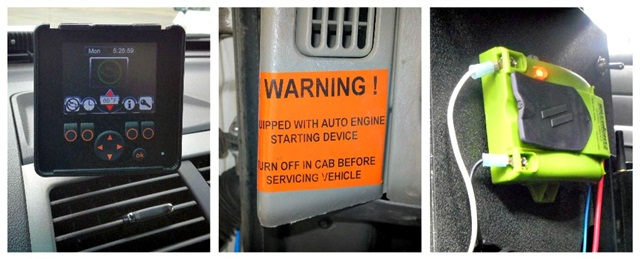 Pictured (l-r) are the City of Columbus's Grip Idle System, a warning sign on Clark Public Utilities' vehicles equipped with the anti-idling device, and Santa Barbara County's Havis IdleRight2 system. Photos provided by agencies.