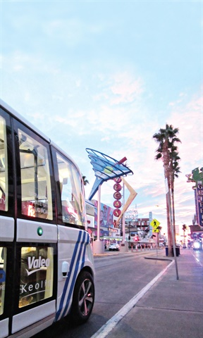 The City of Las Vegas piloted a 100% autonomous shuttle bus for 10 days that ran along a corridor with low vehicle volume and high pedestrian traffic. Photo courtesy of City of Las Vegas