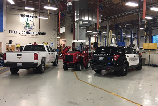 Setting a designated upfit area helped Fleet & Communications' customer satisfaction increase to 80%. Photo courtesy of City of Bellevue