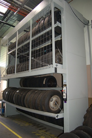 The tire carousel at the City of Beverly Hills, Calif., allows the fleet to store up to 138 tires in a small footprint. The technician turns the carousel to floor level and rolls out the tire.