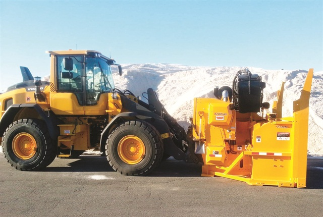 The City of Boston's snow fighting fleet includes this loader with a snow blower attachment. Photo courtesy of City of Boston