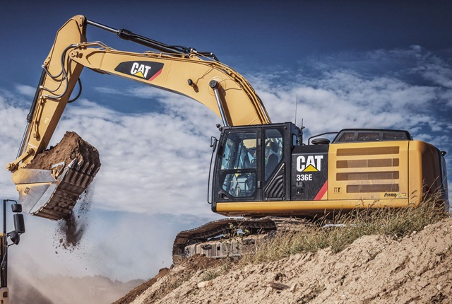 Caterpillar began selling its 336E H hybrid excavator in early 2013, choosing hydraulic hybrid rather than electric hybrid technology for the machine. Photo courtesy of Caterpillar.