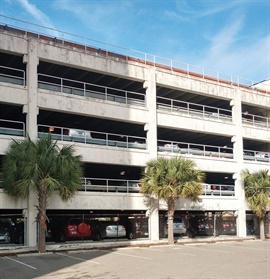 The City of Charleston, S.C., owns a number of parking structures, such as the one pictured, and moved its fleet vehicles to higher levels to avoid flood damage. Photo courtesy of City of Charleston