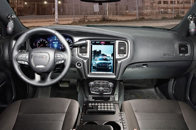 The integrated Uconnect touchscreen in the Dodge Charger Pursuit saves space inside of the vehicle. Photo courtesy of FCA