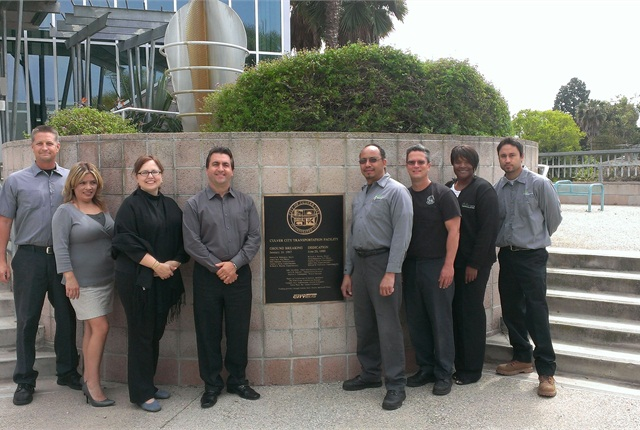 Condran (fourth from left) is pictured here with some of the Culver City fleet team.