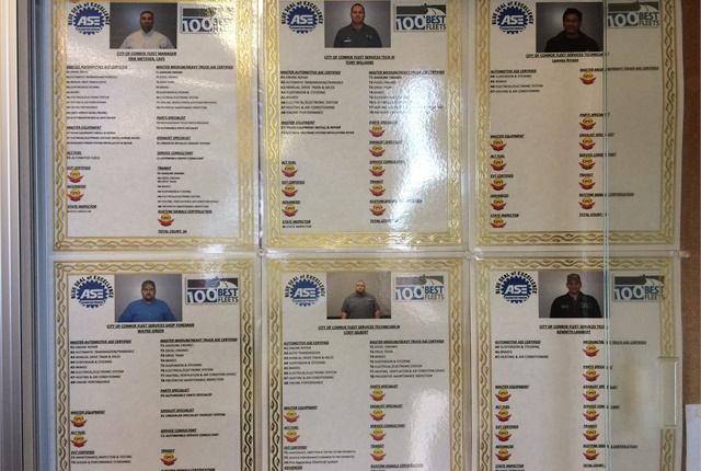 Technicians receive $10 in incentive pay for every ASE certification they gain. Photo courtesy of City of Conroe