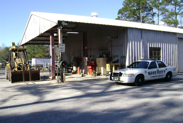The Camden County fleet facility is used to maintain 123 vehicles and equipment, but this could change if the county administrator's plan to consolidate with neighboring public fleets goes through. Photo courtesy of Camden County