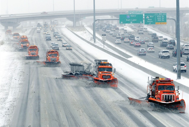 A fleet consultant determined that the ideal replacement time for the Utah DOT's Class 8 snow removal trucks is nine years, down from 10.25 years. Photo courtesy of Utah DOT