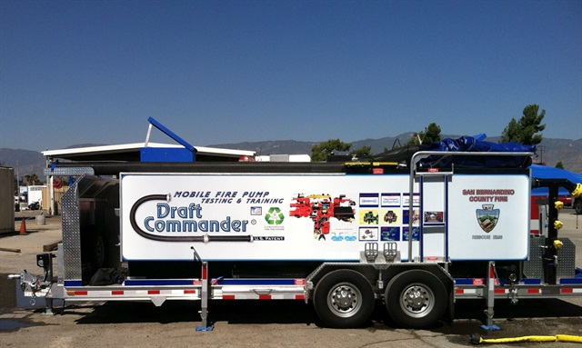 A Draft Commander mobile pump testing trailer helps the San Bernardino Fire Department stay in compliance with its pump testing schedule. Photo courtesy of San Bernardino County