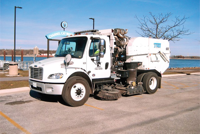 The City of Moline, Ill., invested in ultra-low-sulfur diesel-powered street sweepers after determining the application was unsuitable for natural gas. Photo by Sarah Mark