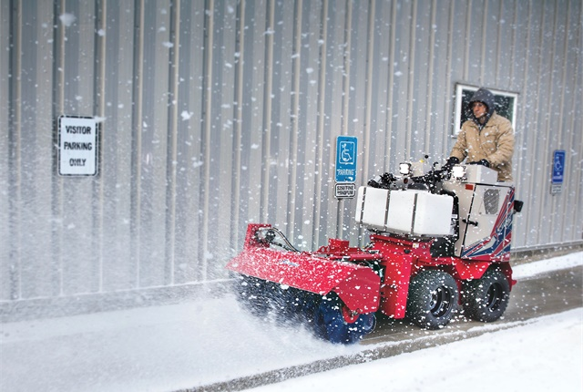 The Ventrac SSV is designed with an arsenal of snow removalattachments and de-icing options. Photo courtesy of Ventrac