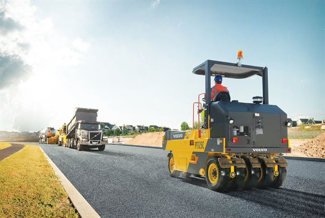 The PT125C's two-speed hydrostatic transmission permits smooth directional changes between forward and reverse. Photo courtesy of Volvo Construction Equipment