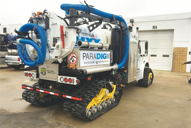 Vactor's rubber track conversion system allows the truck to quickly switch from tires to tracks. Photo courtesy of Vactor