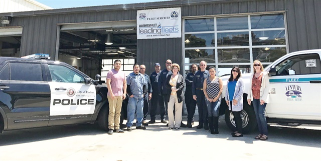 The City of Ventura, Calif., fleet team consists of six technicians, one lead technician, and management staff, overseeing just over 300 vehicles. Ivers is pictured at center. Photo courtesy of City of Ventura