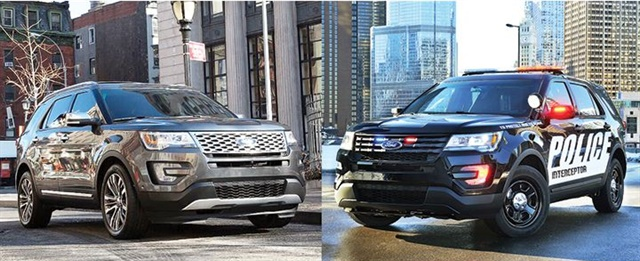 Photos of 2016 Explorer (l.) and 2016 Police Interceptor Utility courtesy of Ford.