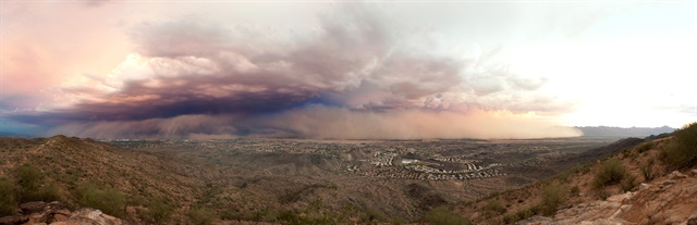 """Phoenix is prone to dust storms, the most intense of which are known as """"haboobs,"""" one of which struck the city on July 31, 2011. Photo: Alan Stark"""