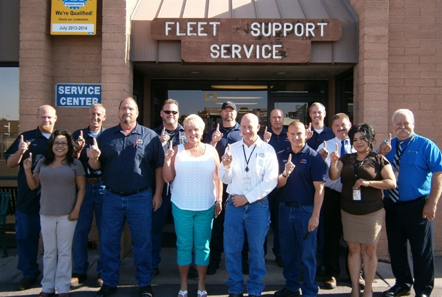 The City of Mesa's Fleet Services Department has a staff of 85 employees. Pictured here is the management team, with Pete Scarafiotti, fleet management director and automotive engineer, at far right.