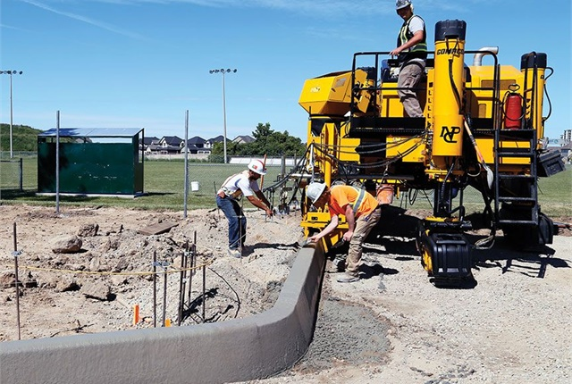 Gomaco's Commander IIIx slipform paver boasts extreme turning capabilities, making the machine suitable for a wide range of curb and gutter projects. Photo courtesy of Gomaco.