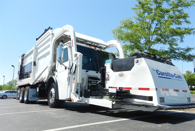 The Heil Odyssey Freedom front loader has a low body weight, which allows it to haul more trash, according to the company. Photo courtesy of Heil