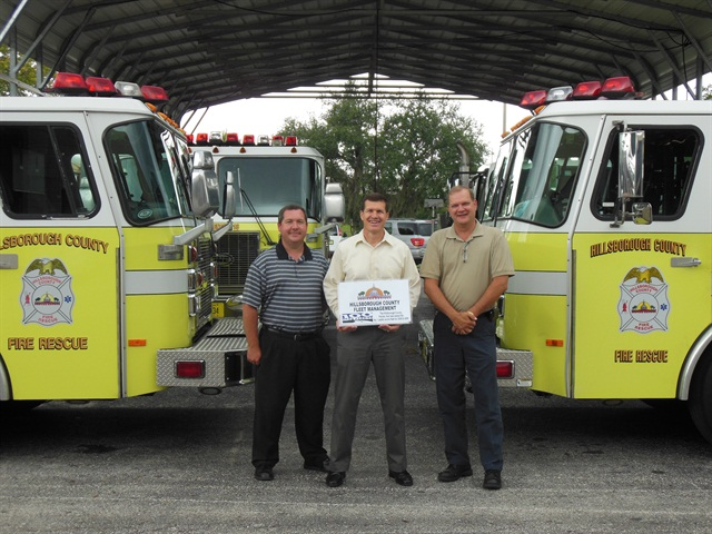 The fleet management leadership team is just one element of the City's successful fleet. Pictured (l-r) are: Ross Meslin, fleet services manager; Robert Stine Jr., director; and Ernie Hutman, operations/maintenance manager.Photo courtesy of Hillsborough County