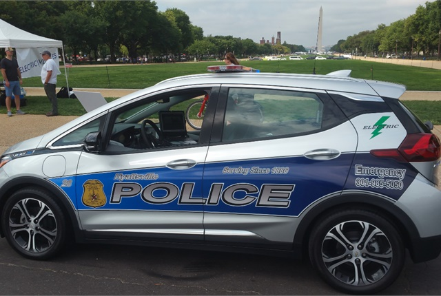 Hyattsville Police unveiled its newest patrol car at local car shows during National Drive Electric Week in the Washington, D.C., area before being deployed in mid-September. Photo courtesy of Hyattsville Police Department