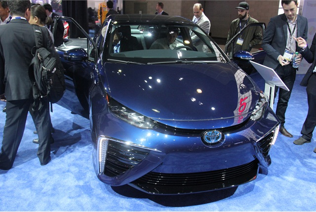 Toyota brought its Mirai hydrogen fuel-cell vehicle. Photo by Paul Clinton.