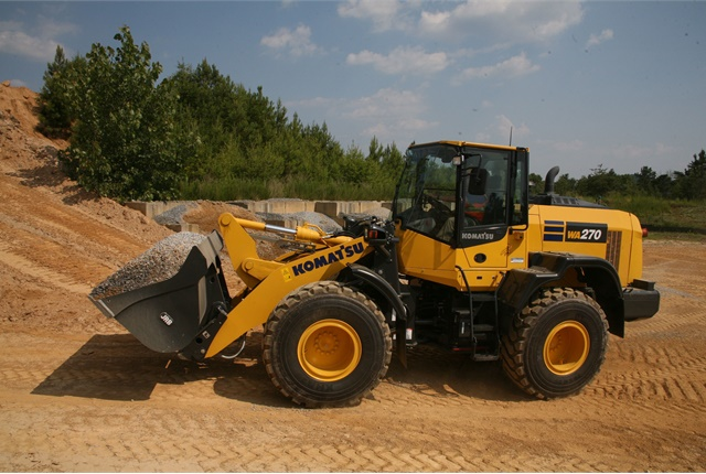 The Komatsu WA270-8 wheel loader is compact enough to operate in tight quarters, such as residential streets, but powerful enough to handle jobs often planned for bigger machines, according to the manufacturer. Photo courtesy of Komatsu