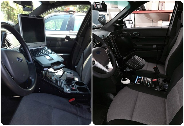 The OCSD made interior changes to its vehicles to improve safety, including adding magnetic mikes, moving themobile dispatching console higher, and lowering the center console. These images show vehicles before (left) and after (right) the change. Photo courtesy of OCSD