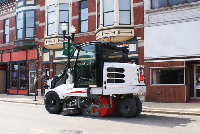 The Elgin Pelican's high steering angle and tight turning radius allow for quick turns so the sweeper can clean extremely close to obstacles. Photo courtesy of Elgin Street Sweeper Co.