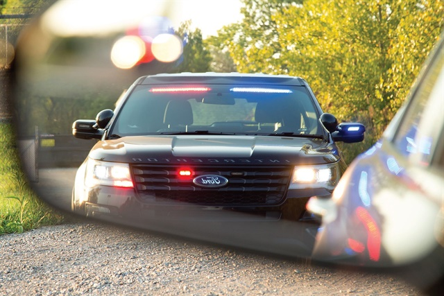 The New Optional Front Interior Visor Light Bar On The Ford Police  Interceptor Utility Flashes Bright
