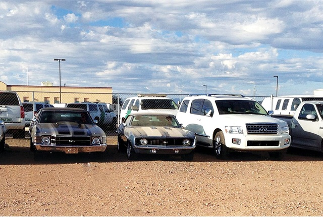 Law enforcement agencies seize a wide variety of vehicles including trucks, SUVs, and classic muscle cars. Photo courtesy of DEA