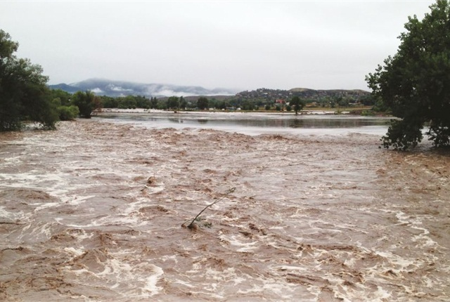 The Big Thompson River, located 80 yards from the City of Loveland, Colo., fleet facility, normally flows at 100 cubic feet per second (cfs) — during the September 2013 floods, this increased to 12,000 cfs. Photo courtesy of City of Loveland
