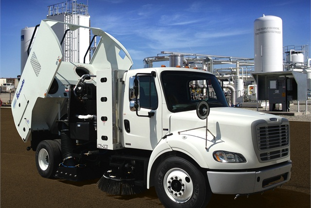 The Schwarze Tornado regenerative air street sweeper is available in a CNG version (pictured). Photo courtesy of Schwarze