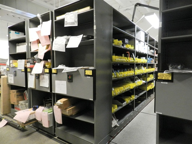 Storage solutions for maintenance facilities articles for Parts room organization
