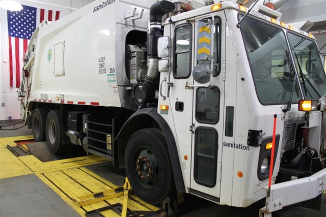 DSNY's dyno-equipped evaluation facility in Queens, N.Y., proved the engine stop-start system's concept was sound, and it's saving substantial fuel in real operations.  Photos: Effenco