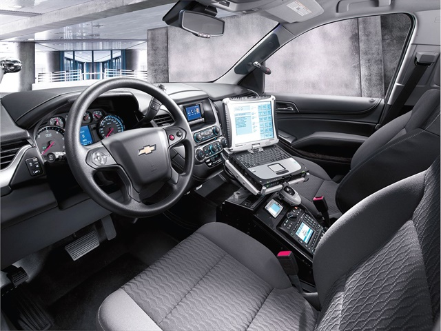 Front seats on the Chevrolet Tahoe PPV offer enhanced ergonomics for a more comfortable ride for officers. Photo courtesy of GM