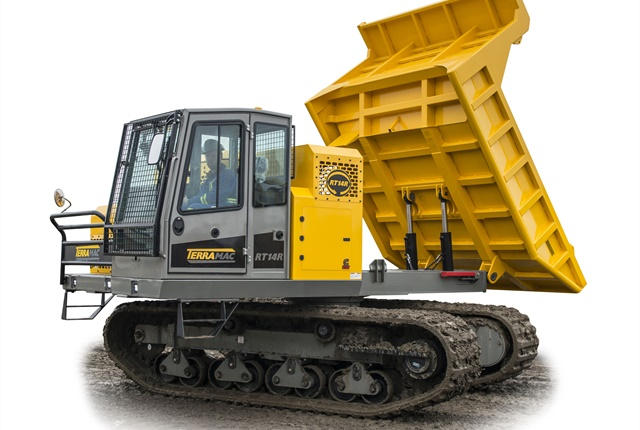 The Terramac RT14R features a 360-degree rotatable frame along with a 28,000-lb. carrying capacity bed that can dump at any position. Photo courtesy of Terramac