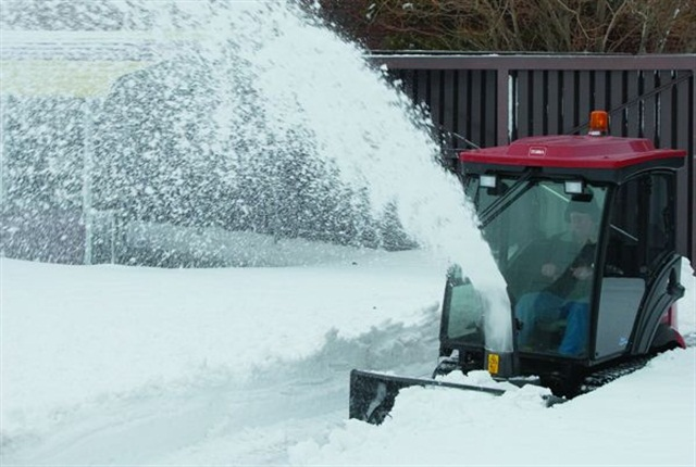 This Toro Groundsmaster 7200 with snowthrower attachment can be used during other parts of the year. Photo courtesy of Toro
