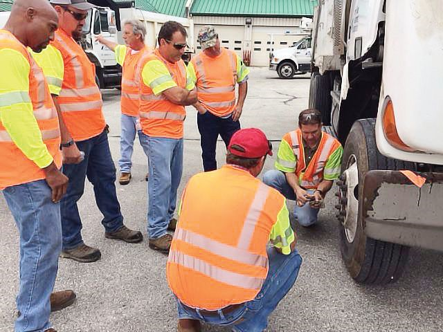 The Texas DOT's FLEX III program provides equipment operators with intensive, hands-on training in vehicle inspection. Photo courtesy of Texas DOT