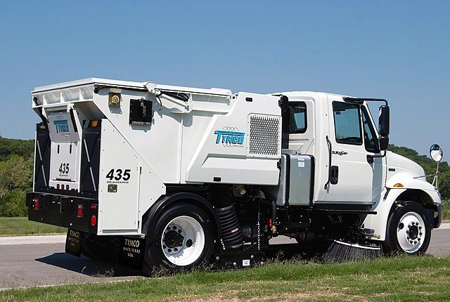 TYMCO's Model 435 mid-size street sweeper uses a regenerative air system. Photo courtesy of TYMCO